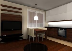 salon z aneksem kuchennym nowoczesny