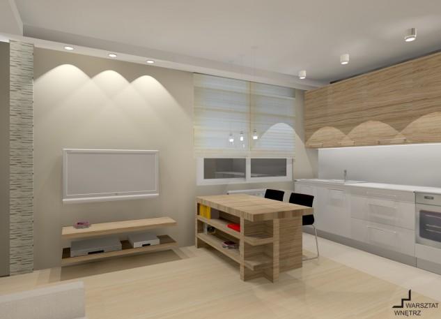 salon z aneksem kuchennym barek