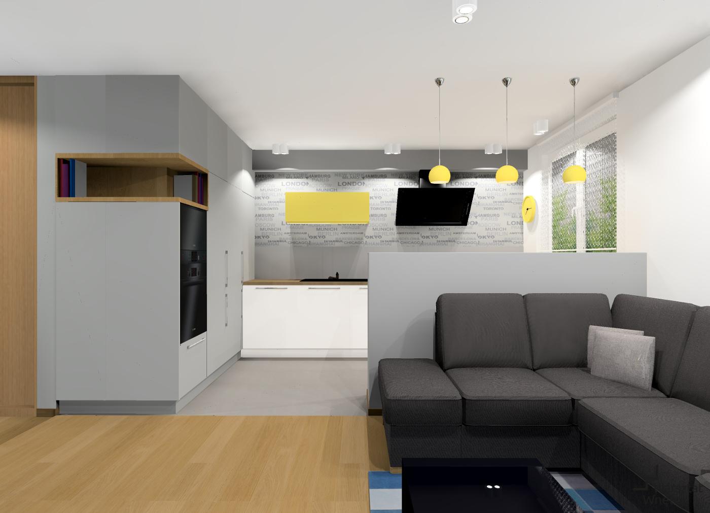 nowoczesny salon z wydzielonym aneksem kuchennym warsztat wn trz. Black Bedroom Furniture Sets. Home Design Ideas